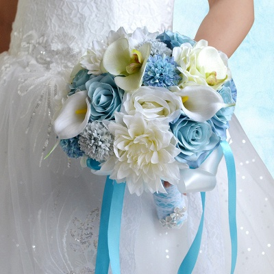 Artificial Camomile and Lily Wedding Bouquet in Blue and White_6