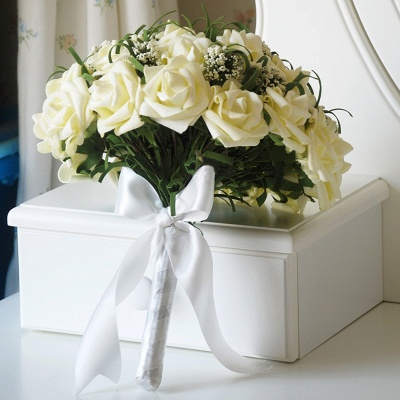 Silk Rose Wedding Bouquet in Ivory with Ribbons_2