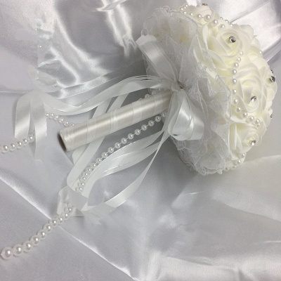 Ivory Rose Bouqet for Wedding with Beading Strings_6