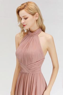 Halter A-line Chiffon Floor-length Backless Sleeveless Fashion Bridesmaid Dress_6