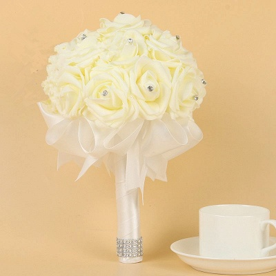 Ivory Silk Beading Rose Bouquet with Colorful Ribbons_1
