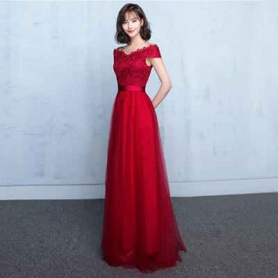 Lace A-Line Off-Shoulder Red  Elegant Evening Dresses_5