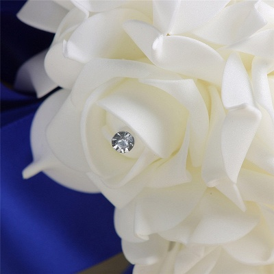 White Silk Rose Crystal Beading Bouquet in Colorful Handles_11