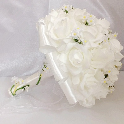 White Rose Wedding Bouquet with Small Flowers_5