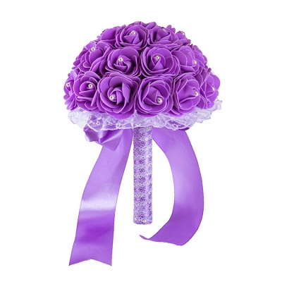 Colorful Rose Beading Bouquet for Wedding_10