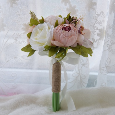 Real Touch Artificial Peony and Rose Wedding Bouquet_2