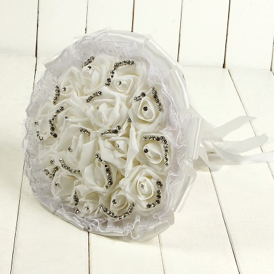 Glitter Crystal Beading Wedding Bouquets with Lace_1