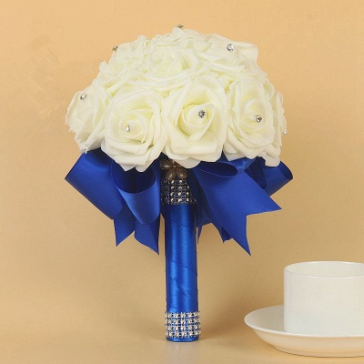 Ivory Silk Beading Rose Bouquet with Colorful Ribbons_9