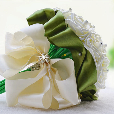 Ivory Silk Beading Rose Bouquet with Colorful Ribbons_15