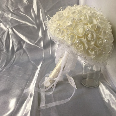 Silk Ivory Rose Wedding Bouquet with Lace ribbons_6
