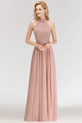 Halter A-line Chiffon Floor-length Backless Sleeveless Fashion Bridesmaid Dress_3