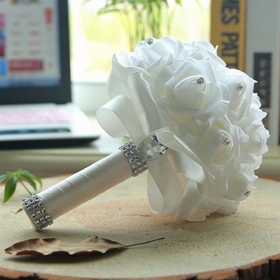 White Silk Wedding Bouquet with Colorful Handles_1