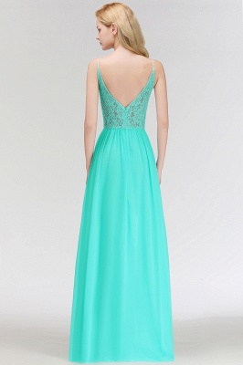 A-line Keyhole Neckline Lace Top Long Spaghetti Bridesmaid Dress In Stock_5