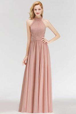 Halter A-line Chiffon Floor-length Backless Sleeveless Fashion Bridesmaid Dress_2