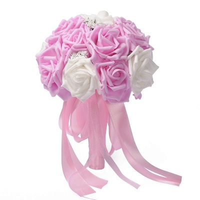 Two Colors Silk Flowers Wedding Bouquet with Ribbon_1