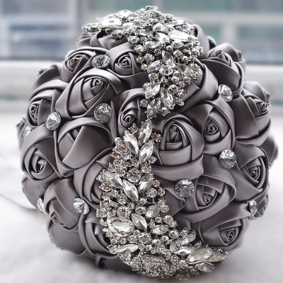 Slik Rose Beading Wedding Bouquet in Multiple Colors_6