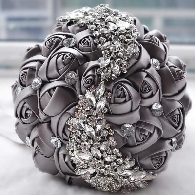 Slik Rose Beading Wedding Bouquet in Multiple Colors_6