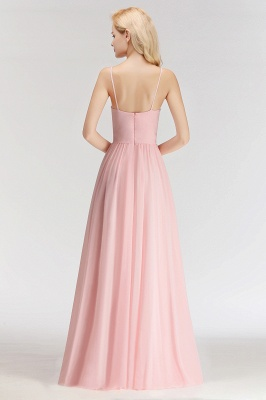Pink Chiffon Simple Floor-length Sleeveless A-line Spaghetti-Strap Zipper Bridesmaid Dress_2