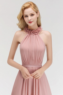 A-line  Halter Sleeveless Ruffled Floor Length Bridesmaid Dresses_6