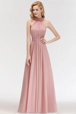 A-line  Halter Sleeveless Ruffled Floor Length Bridesmaid Dresses_4
