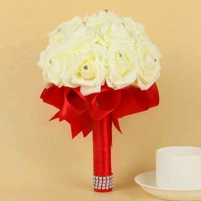 Ivory Silk Beading Rose Bouquet with Colorful Ribbons_5