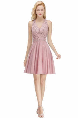 Cheap A-line V-neck Sleeveless Short Appliques Chiffon Homecoming Dress in Stock_1