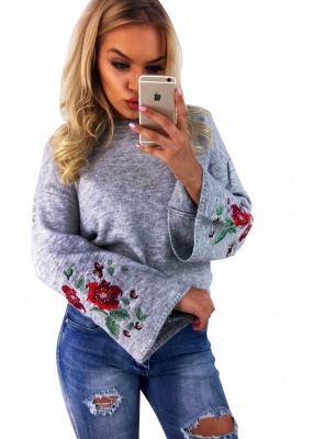 Women Knitted Sweater Floral Embroidery Pullover Jumper Flare Long Sleeve Casual Loose Tops_3
