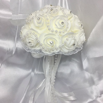 Ivory Rose Bouqet for Wedding with Beading Strings_1