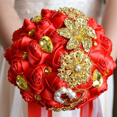 Colorful Silk Rose Crystal Beading Wedding Bouquet_5