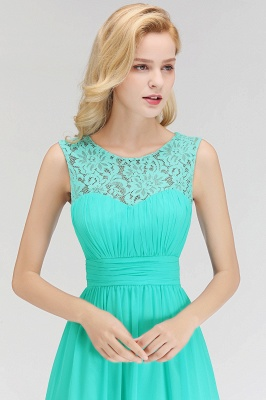 A-line Sleevless Long Lace Appliques Neckline Bridesmaid Dress In Stock_7