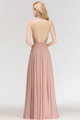 Halter A-line Chiffon Floor-length Backless Sleeveless Fashion Bridesmaid Dress_7