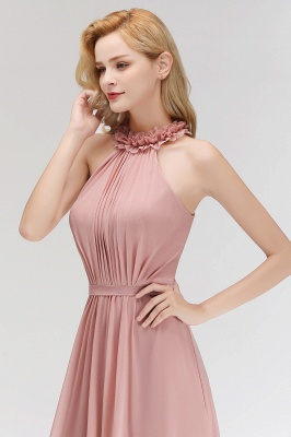 A-line  Halter Sleeveless Ruffled Floor Length Bridesmaid Dresses_5