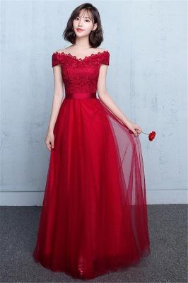 Lace A-Line Off-Shoulder Red  Elegant Evening Dresses_2