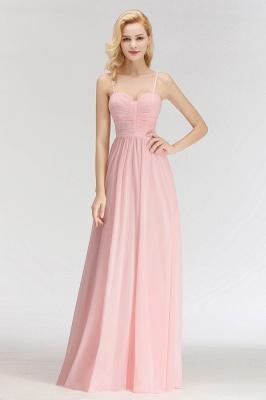 Pink Chiffon Simple Floor-length Sleeveless A-line Spaghetti-Strap Zipper Bridesmaid Dress_3