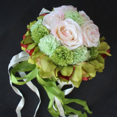 Silk Rose Artificial Orchid and Marigold Wedding Bouquet_6