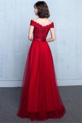 Lace A-Line Off-Shoulder Red  Elegant Evening Dresses_6