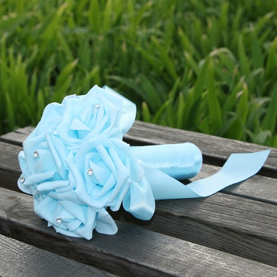 Simple Silk Rose wedding Bouquet in Multiple Colors_11