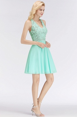 Cheap A-line V-neck Sleeveless Short Appliques Chiffon Homecoming Dress in Stock_6