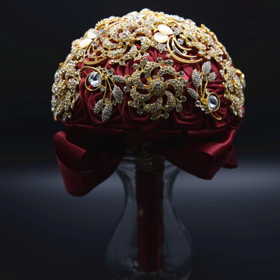 Luxury Crystal Beading Rose Bouquet for Wedding_8