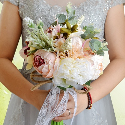Real Touch Colorful  Artifial Roses Wedding Bouquet_9