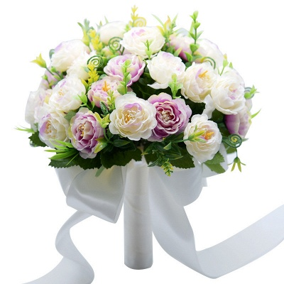 Artificial Rose Wedding Bouquet in Two Colors_9
