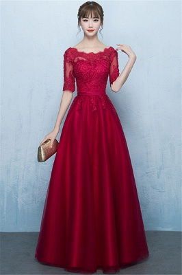 A-Line Lace-Up Glamorous Half-Sleeves Floor-Length Lace Evening Dresses_1