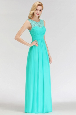 A-line Sleevless Long Lace Appliques Neckline Bridesmaid Dress In Stock_2