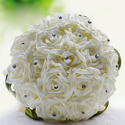 Ivory Silk Beading Rose Bouquet with Colorful Ribbons_14