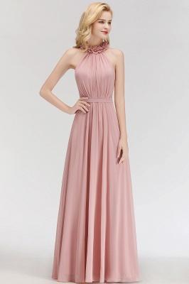 A-line  Halter Sleeveless Ruffled Floor Length Bridesmaid Dresses_3