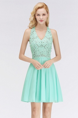 Cheap A-line V-neck Sleeveless Short Appliques Chiffon Homecoming Dress in Stock_7