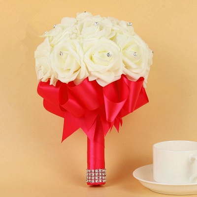 Ivory Silk Beading Rose Bouquet with Colorful Ribbons_4