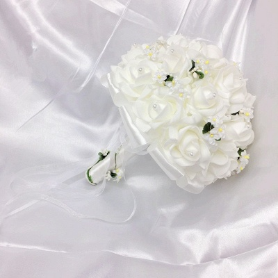 White Rose Wedding Bouquet with Small Flowers_7