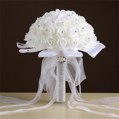 Ivory Silk Rose wedding Bouquet with Beads_1
