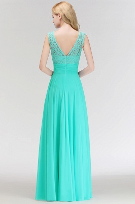 A-line Floor Length Lace Top Sleeveless Chiffon Bridesmaid Dress In Stock_5